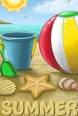 Tolland Home Garden 1110908 Summer Beach Ball Decorative Flag 12.5 by 18 Inch Colorful Ocean Sand Toys,