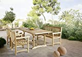 4 teilige Gartengruppe Caracas, 2 x Garten-Sessel Caracas, Garten-Bank Caracas, Garten-Möbel aus Teak-Holz, Garten-Set aus Massivholz , Garten-Tisch Esstisch mit Schirmloch, Ausziehtisch 150 – 200 cm