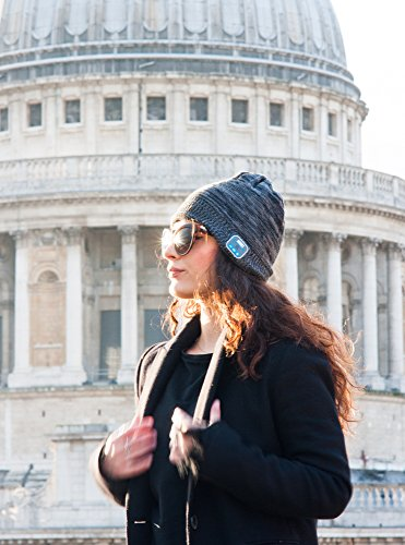 August EPA30 – Bluetooth Mütze – Winter Strickmütze mit Bluetooth Stereo Kopfhörer, Mikrofon, Freisprechen und integriertem Akku – Kompatibel mit Smartphones, Handys, Tablets, iPhone, iPad, Laptops (Kobalt) - 2