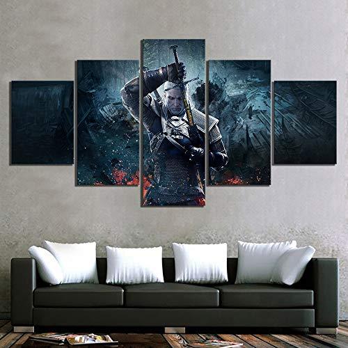 HIMFL Segeltuch Wandkunst Modular Poster HD-Druck 5 Panel The Witcher 3 Spiel Modern Bild Zuhause Dekor Malerei Für das Wohnzimmer,A,30×50×2+30×70×2+30×80×1