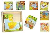 Unbekannt Bilderwürfel Puzzle - Katze Hund Ente Maus Pferd Hahn Tiere - 4 Teile mit Vorlagen Holz Würfelpuzzle