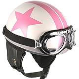 [ Blanc-Rose Vedette ] NEUF De Cru Moto Casque Bol Lunettes Scooter millésime