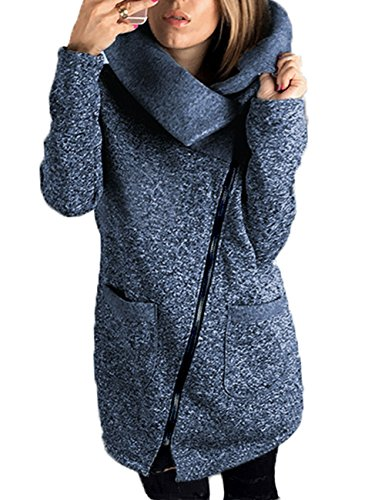 570g Junshan Mantel Damen schwarz Lang Jacke Updated Outwear Tops Strickmantel Warm Oversized 36-50 (46, Blau) (Jacke Sport Leinen)
