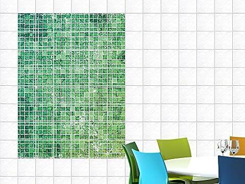 Fliesenaufkleber Fliesensticker Aufkleber für Küche Mosaikmuster grün Kacheln (Fliesengröße10x10cm (BxH)//Bildgröße
