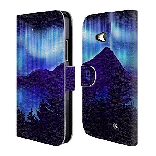 Head Case Designs Seesicht Blau Nordlichter Brieftasche Handyhülle aus Leder für Microsoft Lumia 640 / Dual SIM