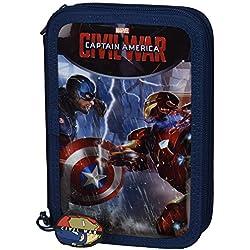 Capitán América Civil War Plumier Doble Pequeño, 34 Piezas, Color Azul y Rojo