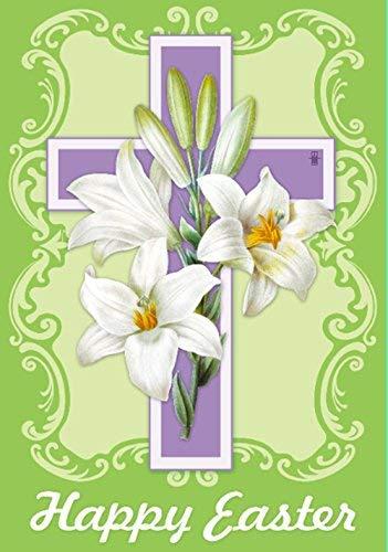 ZGNNN-EU Oster-Weiße Lilien doppelseitiges dekoratives Kreuz religiös Haus Garten Flaggen 12 x 18 doppelseitig Outdoor Hofflaggen Heimflaggen Banner Party Decor