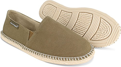 normani Sommer Schuhe - Klassische Espadrillas - Flache Stoffschuhe - Freizeitschuhe für Damen und Herren [Gr. 36-46] Farbe Khaki Style 2 Größe 45 - Espadrille Khaki