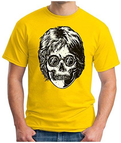 OM3 - LEGEND-SKULL - T-Shirt PEACE Schädel GLASSES UK Great Britain POP MUSIC 60's KULT GEEK, S - 5XL Gelb