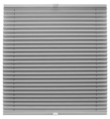 Plissee auf Maß verschiedene Farben für alle Fenster Montage in der Glasleiste Blickdicht mit Spannschuh Sonnenschutzrollo Fensterrollo Plissee Rollo Hellgrau Breite: 81-90 cm, Höhe: 40-100 cm
