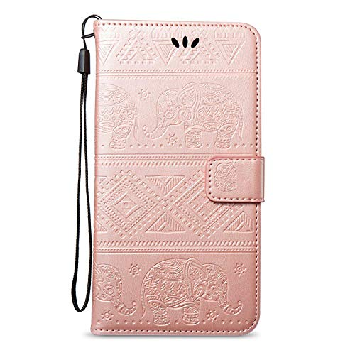 kompatibel mit Galaxy S7 Edge Hülle,Tasche für Galaxy S7 Edge Schutzhülle Leder Tasche Flip Case,Prägung Elefant PU Lederhülle Brieftasche Flip Hülle Kunstleder Wallet Tasche Cover,Rose Gold