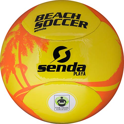 Senda Playa Beach Fußball, Fair Trade Zertifiziert, orange/gelb, SFT1016-4OR, orange/gelb, Size 4 (Ages 8-12) (Replica Cup Soccer World)