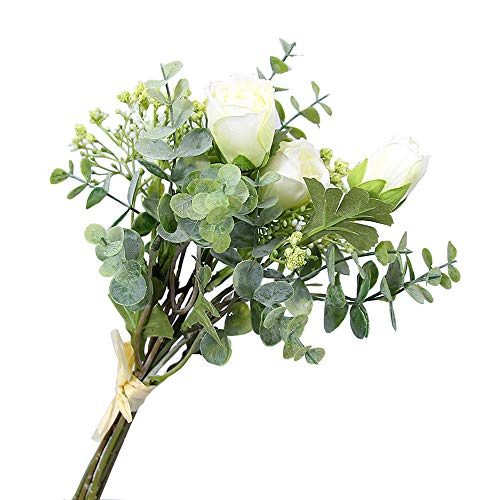 Li Hua Cat Kunstblumen/künstlicher Blumenstrauß, klein, Lotus mit Tau, Gipskraut, Eukalyptus, Blätter, grüne Pflanzendekoration für Zuhause, Hochzeit, plastik, weiß, 35 cm