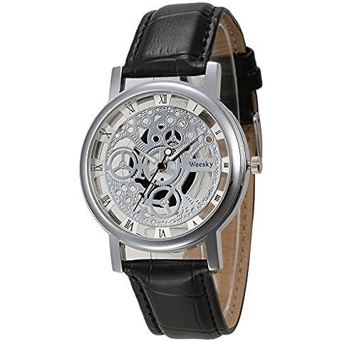 pkaty Uomo Leisure scheletro hollow Vintage Cinturino in pelle PU quarzo polso watches-black