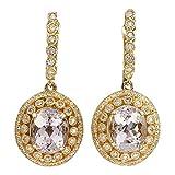 12.30ct naturales Morganite oro amarillo Diamante Pendientes