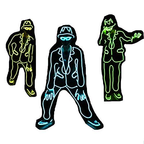 Dance Style Jazz Kostüm - Michael Jackson Style Jazz Fluorescent Dance Performance Kostüm für Erwachsene und Kinder Unisex, EL Cold Light & Battery Powered, für Dance Party Masquerade Concerts Show