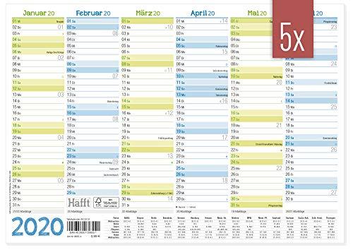 nder 2020 A4 quer - Tafelkalender, Jahresplaner, Jahreskalender + kleine Übersicht Folgejahr, Feiertage & Ferienübersicht ()