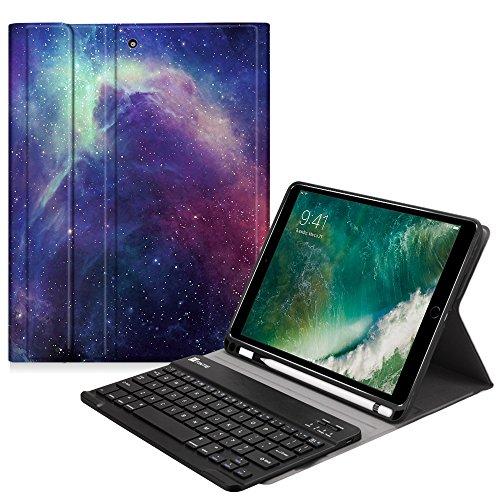 Fintie Tastatur Hülle für iPad 9.7 2018, Soft TPU Rückseite Abdeckung Schutzhülle Keyboard Case mit eingebautem Pencil Halter, magnetisch Abnehmbarer drahtloser Deutscher Tastatur, Die Galaxie -