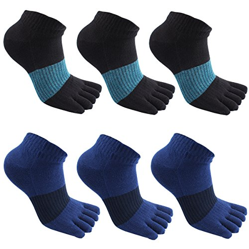GINZIN Zehensocken herren 5-6 Paar Männer Sport laufende Zehen Socken Sportsocken (3#)