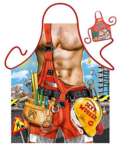 Kostüm Bauarbeiter Sexy - Tini - Shirts Bauarbeiter Motiv Kochschürze sexy Männerkörper Handwerker Kostüm Schürze : Sexy Worker - Weihnachtssgeschenk-Set - Deko Geschenk Flasche Weihnachten