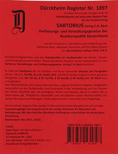 SARTORIUS 1 Griffregister Nr. 1897 (2018/118.EL): 128 Griffregister zur Befestigung an Buchseiten, Trennblättern der Sammlung SARTORIUS 1, Verfassungs- und Verwaltungsgesetze, C.H. Beck Verlag