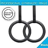 Excelvan Anneaux Gymnastique Exercice fitness Gym Charge max 400kg en fonction du poids Excercising, Suspension Training - Noir