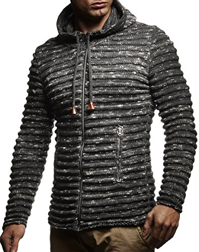 Leif Nelson Men's Knit Jacket with Hood Knitt Zip Up Cardigan Hoodie LN20724 Anthrazit