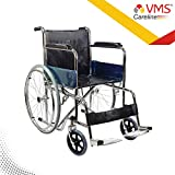 VMS Careline Pneumatic Regular Foldable Stainless Steel Wheelchair with Safety Belt (Black)