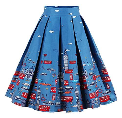 afa22c8389 Anikigu Falda Plisada Estampada Floral en Línea de Cintura Alta Vintage  para Mujeres
