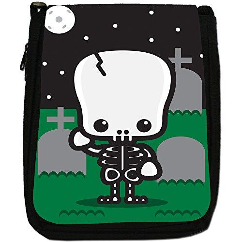 Kawaii Cute Baby mostri Medium Nero Borsa In Tela, taglia M Skeleton Graveyard Full Moon