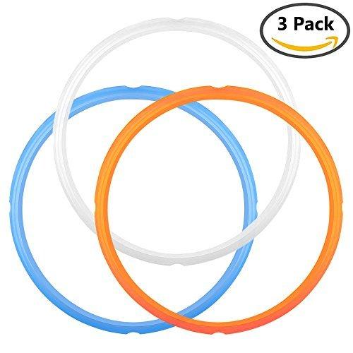 IHUIXINHE Junta de silicona de sellado para olla rápida Para 5 o 6 modelos de cuarto de galón, naranja, azul y blanco transparente Común, dulce y salado paquete de edición de 3