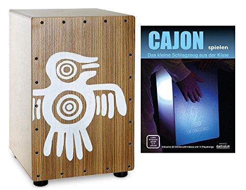 XDrum PERC CP-484 Cajon Peruana Zebrano Set (Set inkl. Cajon mit Birken-Korpus & Snareeffekt, passende Rucksack-Tasche für sicheren Transport & Aufbewahrung und Cajonschule für Einsteiger)