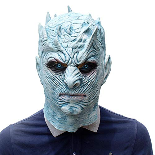 Umiwe Latex Gesichtsmaske Realistisches Game of Thrones Nacht König White Walker Kopfmaske Halloween Kostüme Scary Maske Halloween Karneval Cosplay Dekoration