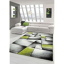 designer teppich moderner teppich wohnzimmer teppich kurzflor teppich mit konturenschnitt karo muster grn grau wei schwarz - Wohnzimmer Grun Weis Grau