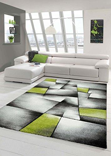 Designer Teppich Moderner Teppich Wohnzimmer Teppich Kurzflor Teppich mit Konturenschnitt Karo Muster Grün Grau Weiß Schwarz Größe 80 x 300 cm