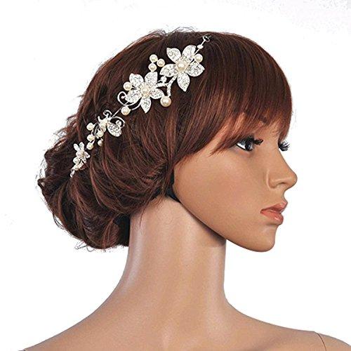 Vorcool 2pcs delicato cristallo strass Faux Perla nuziale capelli Band archetto Tiara donna Decor fiore stile (bianco) - Stile Cristallo Perla