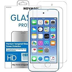 NOVAGO Compatible avec Apple iPod Touch 5,Touch 6,Touch 7 - Pack de 2 Films Protection écran en Verre trempé résistant Anti Explosion d'écran (x 2)