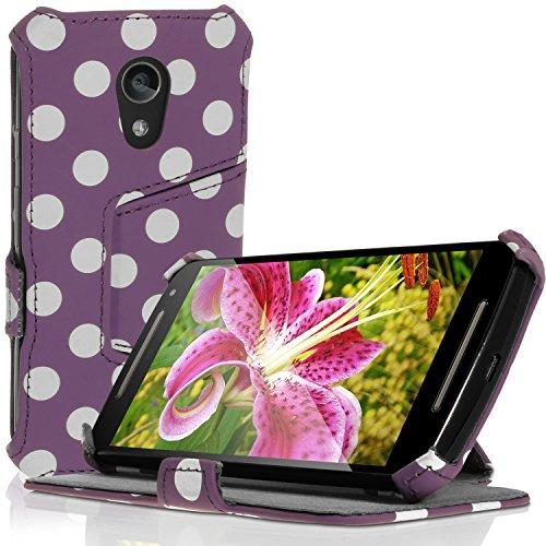 igadgitz U3420 PU Leder Schutzhülle & Bildschirmschutzfolie Kompatibel mit Motorola Moto G 2nd Gen -Lila