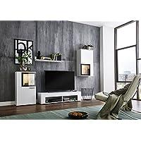 Wohnwand Schrankwand Wohnzimmerschrank Mediawand Anbauwand TV Element  ORLANDO In Weiß / Schwarz Inkl. LED