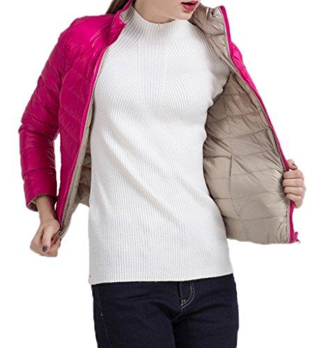 Bigood Femme Manteau Duplex Courte Jacket Doudoune Duvet Blouson Chaud Haute Qualité Parka Rembourré Pour Hiver Rose Rouge