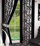 Super India Floral Polyester Window Curtain - 5ft, Black