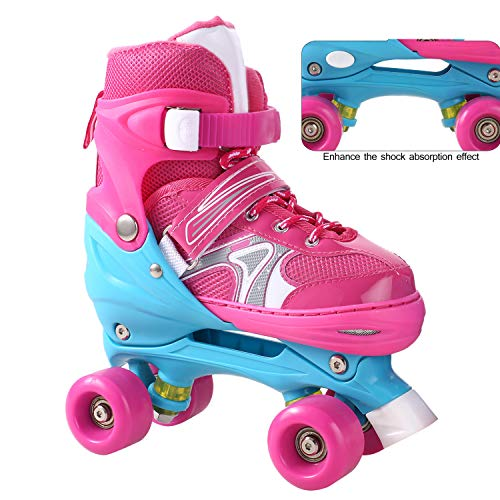 Inline Skates Roller Skates Kids/Boys/Girls Canvas Design Adjustable with Luminous PU Wheels Triple Protection Lightweight Inline Skates (Rosa1, S: 31-34 EU)