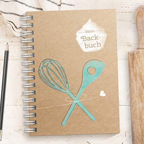 Kreatives DIY Backbuch für Backrezepte - TÜRKIS - zum reinschreiben und wieder backen für 33 Rezepte (DIN A5, Ringbindung mit Register, Inhaltsverzeichnis und Seitenzahlen)