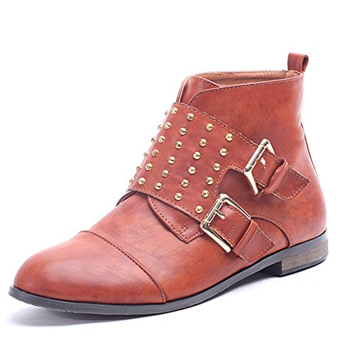 Alexis Leroy Ankle-Boots mit zwei Schnallen Damen Chukka Boots Kamel