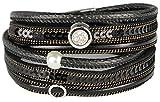 Mevina Damen Armband Perle Perlenarmband Pailletten Glitzer Wickelarmband Magnetverschluss Luxus Premium Schwarz A1344