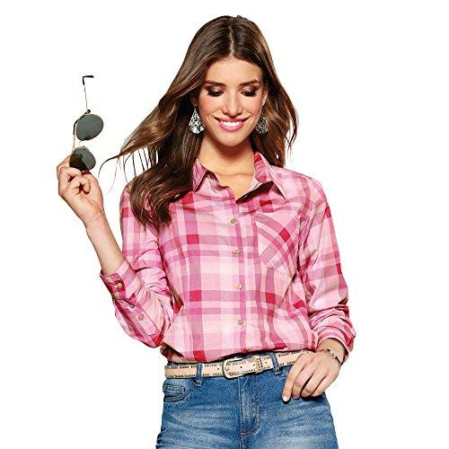 8395952572a Camisa de Cuello Camisero con Botonadura Frontal Mujer by Vencastyle -  013957,Cuadros Rosa/