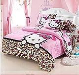 Giovanna Queen Kiss Hello Kitty Set da Letto Reversibile 4Pezzi 1X Copripiumino 200x 230cm 1X Lenzuolo sotto 230x 230cm 2X Federa 48x 74cm Hello Kitty Rosa oncia Rossa 100% Poliestere