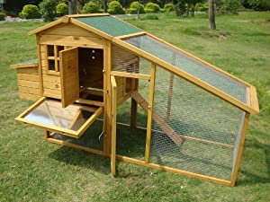 Large 7ft Cocoon Chicken Coop Hen House Poultry Ark Nest Box Rabbit Hutch - Large Coop With Innovative Locking Mechanism - Perspex Windows - Rear Vent Holes - Cleaning Tray - Secure Nest Box Floor from Cocoon