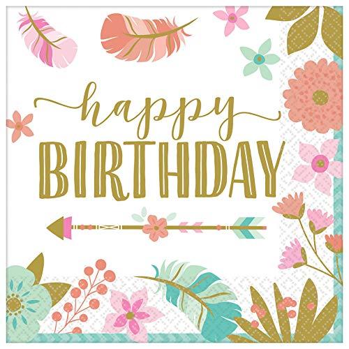 Amscan International 502106 Papier- und Kunststoff-Tischgeschirr, Boho Birthday Girl
