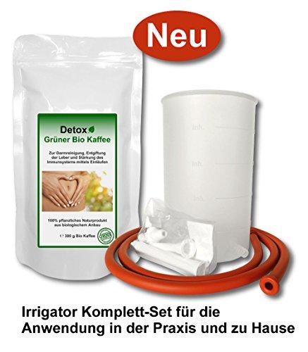 Detox Grüner Bio Kaffee 300g Heimset inkl. Irrigator-Set (Anwendung als Kaffeeeinlauf zur Entgiftung, Darmreinigung und Stärkung des Immunsystems)